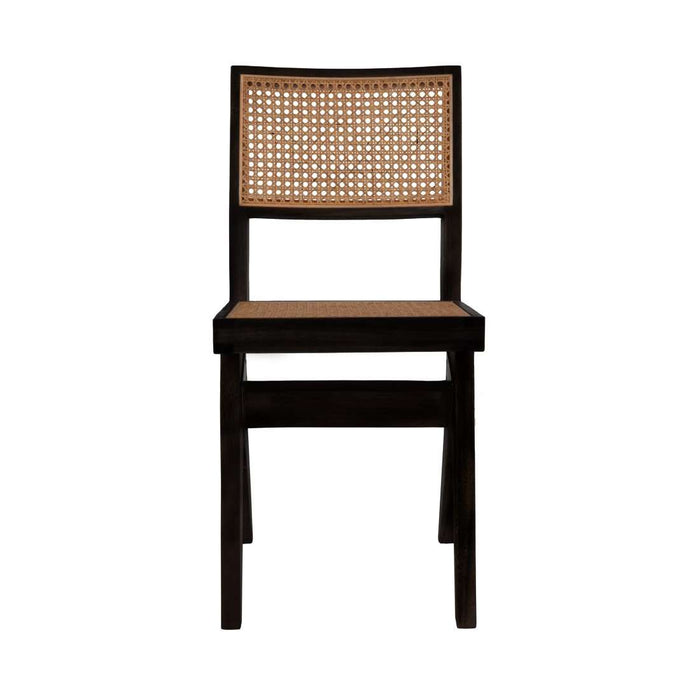 Pierre Jeanneret Hand Caned Side Chair - Black