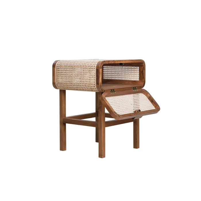 Jeanneret Cane Teak Accent Table with Storage