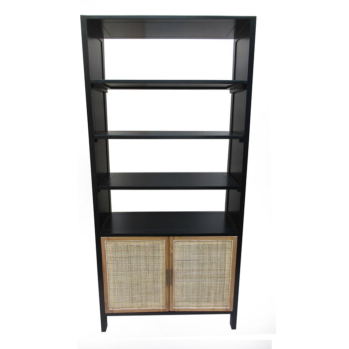 Bombay Teak and Cane Bookshelf Cabinet