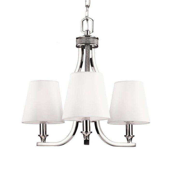 Pave 3 Light Crystal Inlay Chandelier Polished Nickel