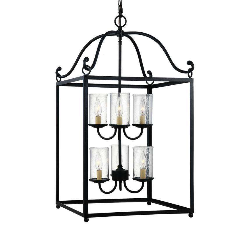 6 - Light Chandelier Antique Forged Iron