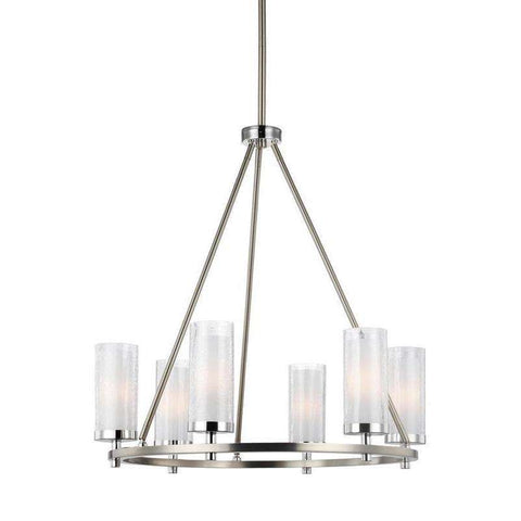 6 - Light Chandelier Satin Nickel / Chrome