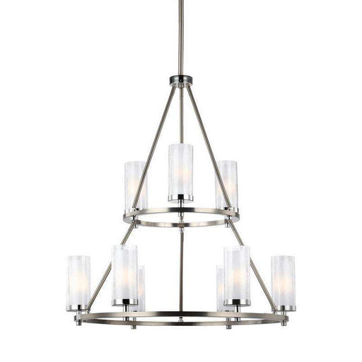 9 - Light Two Tier Chandelier Satin Nickel / Chrome