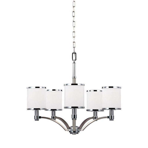 5 - Light Chandelier Satin Nickel / Chrome