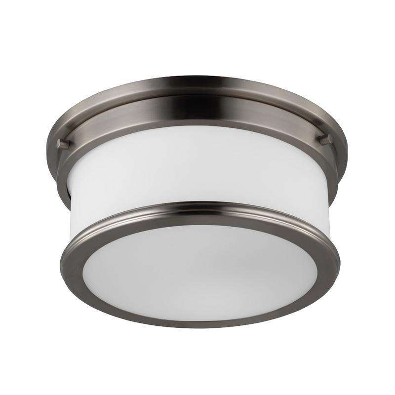2 - Light Payne Flushmount Ceiling Fixture Brushed Steel