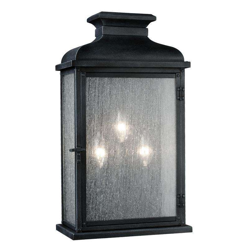 3 - Light Outdoor Sconce Outdoor Fixture Dark Weathered Zinc