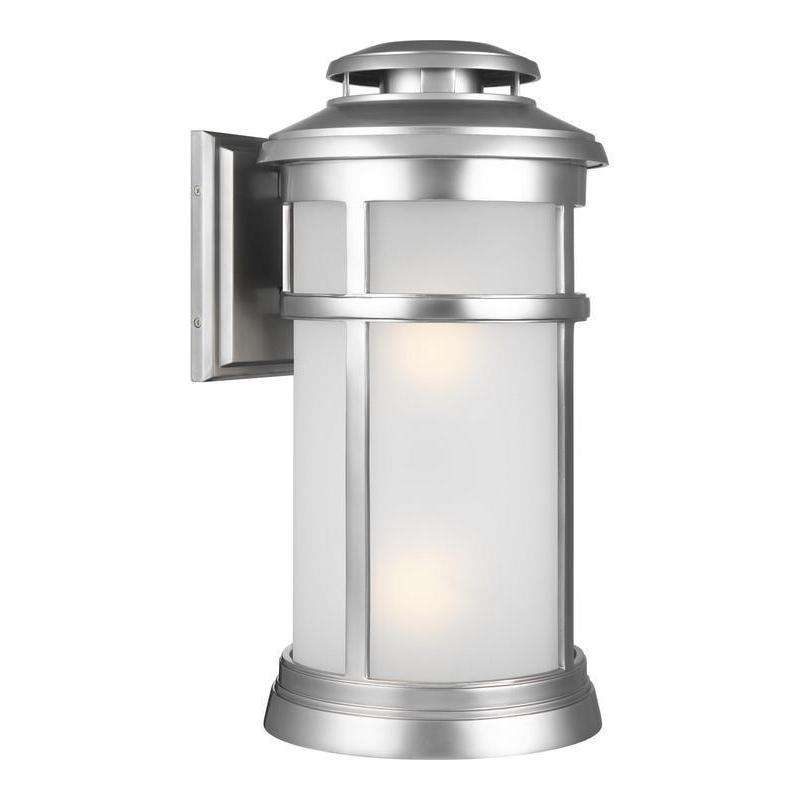 2 - Light Wall Lantern Outdoor Fixture Painted Brushed Steel