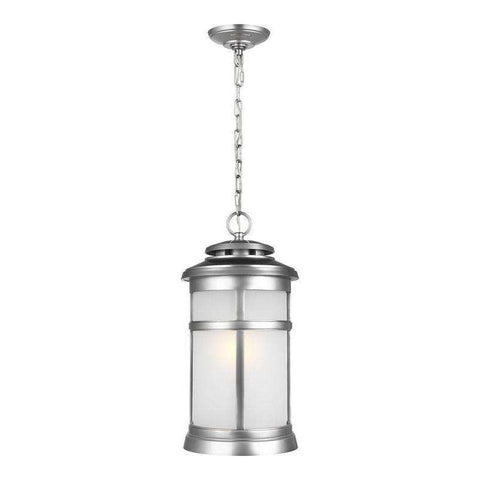 1 - Light Hanging Lantern Outdoor Fixture Painted Brushed Steel