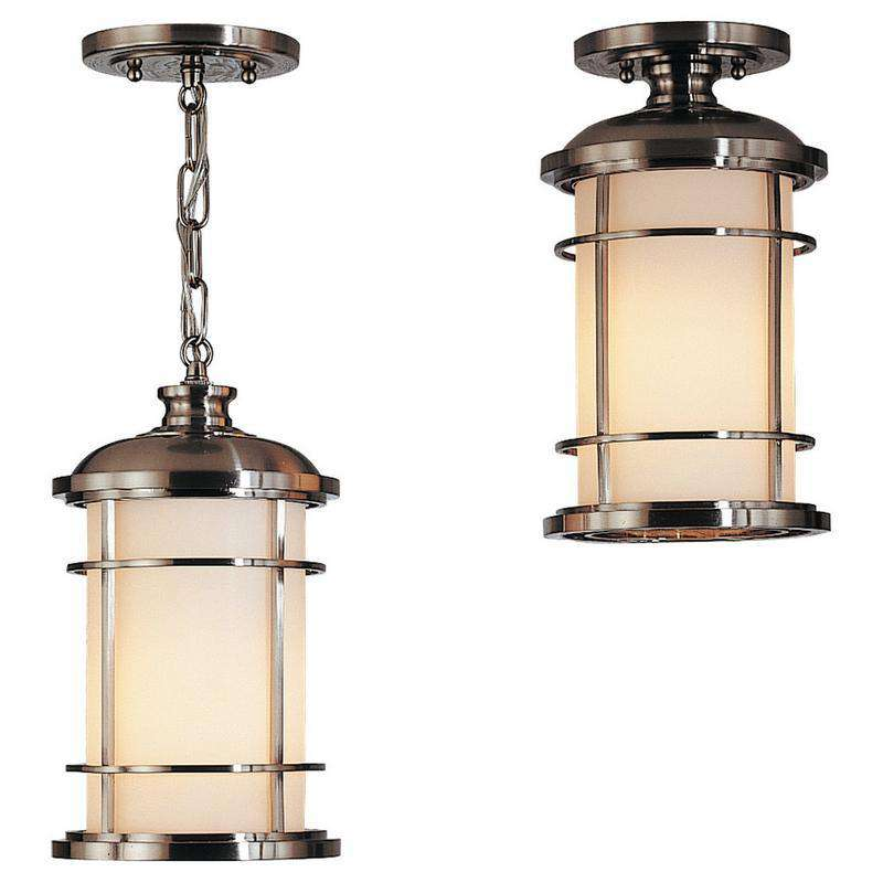 1-Light Lighthouse Outdoor Fixture Brushed Steel