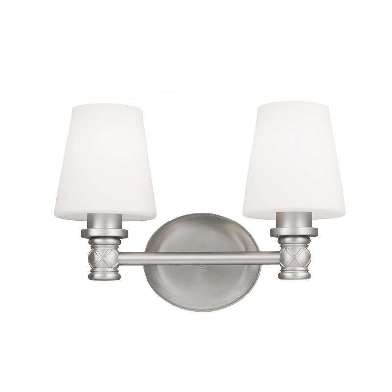 2 - Light Vanity Wall Bath Fixture Satin Nickel