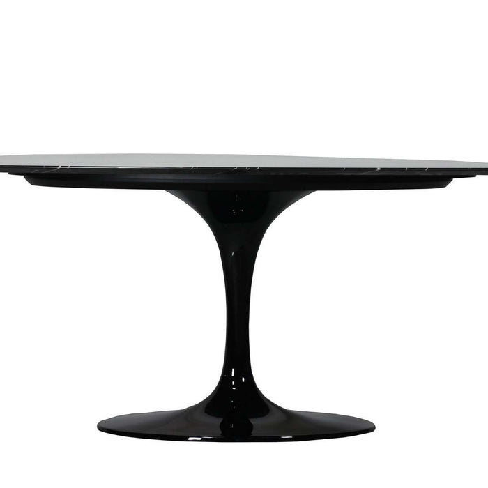 "Nero Marquina Marble Tulip Dining Table - 96"" Oval"