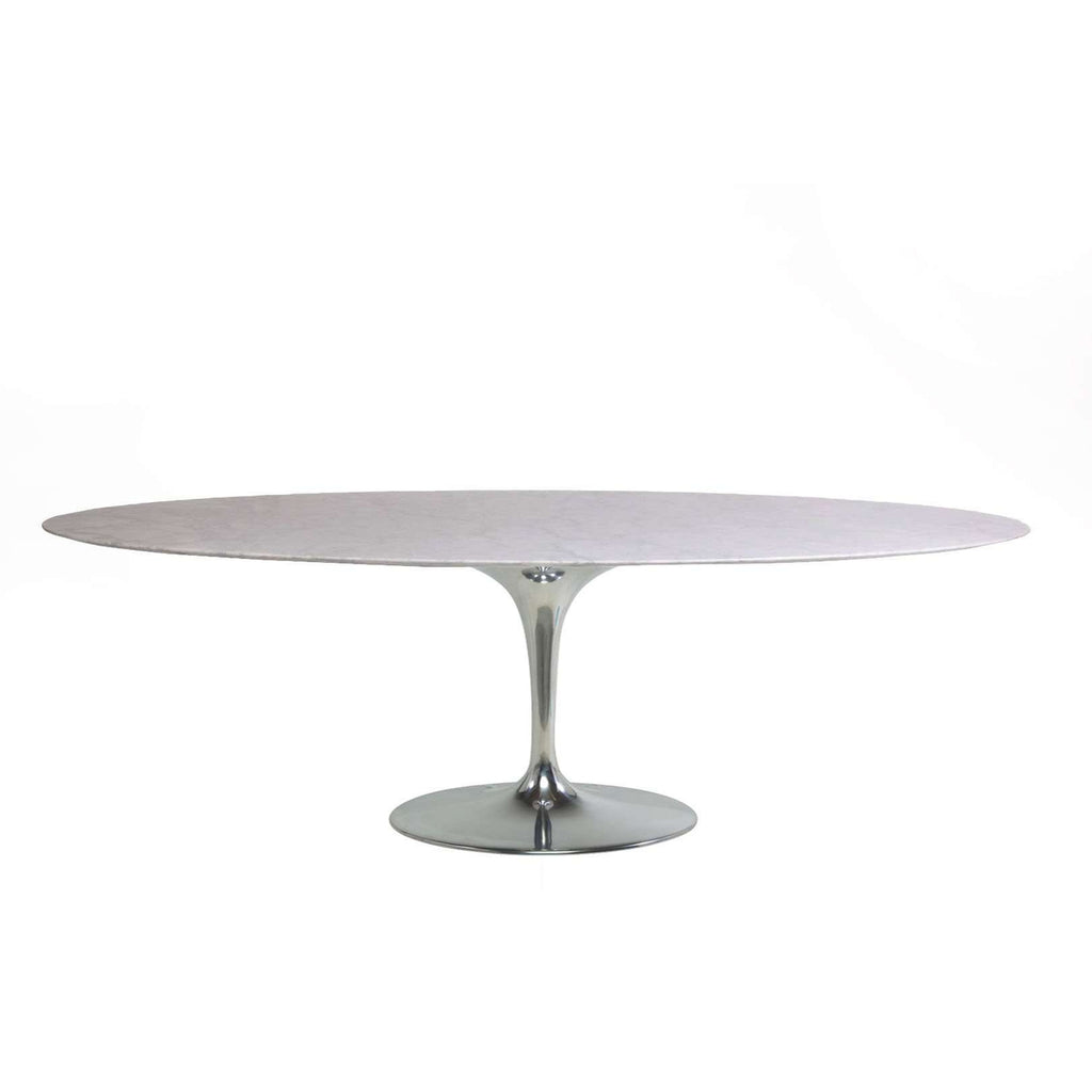 "Carrara Marble Tulip Dining Table - 96"" with Limited Edition Chrome Base"