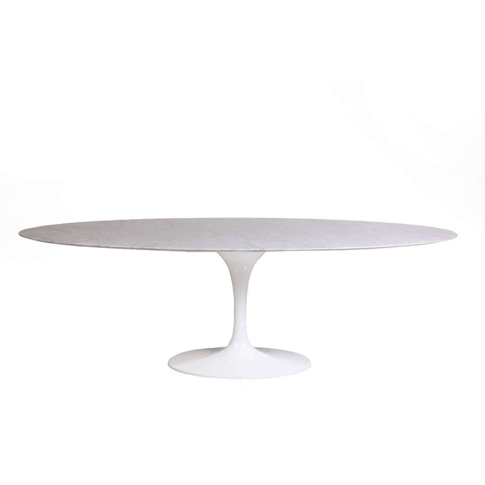 "Italian Carrara Marble Tulip Dining Table - 96"" Oval"