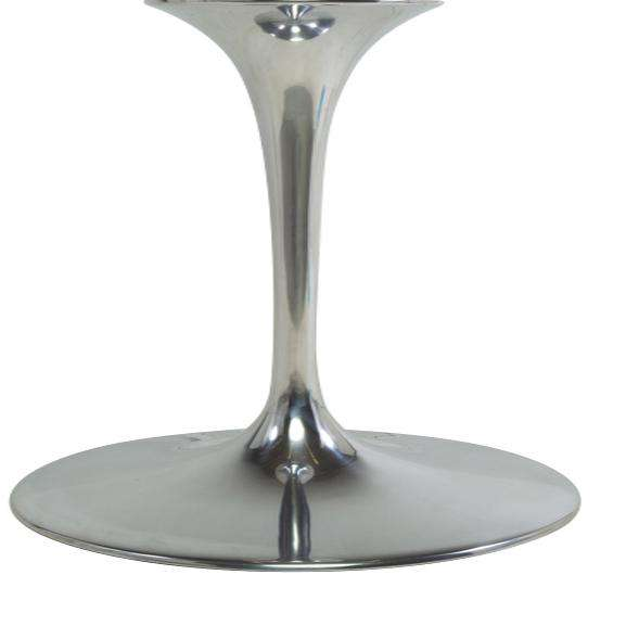 "Carrara Marble Tulip Dining Table - 96"" with Chrome Base"