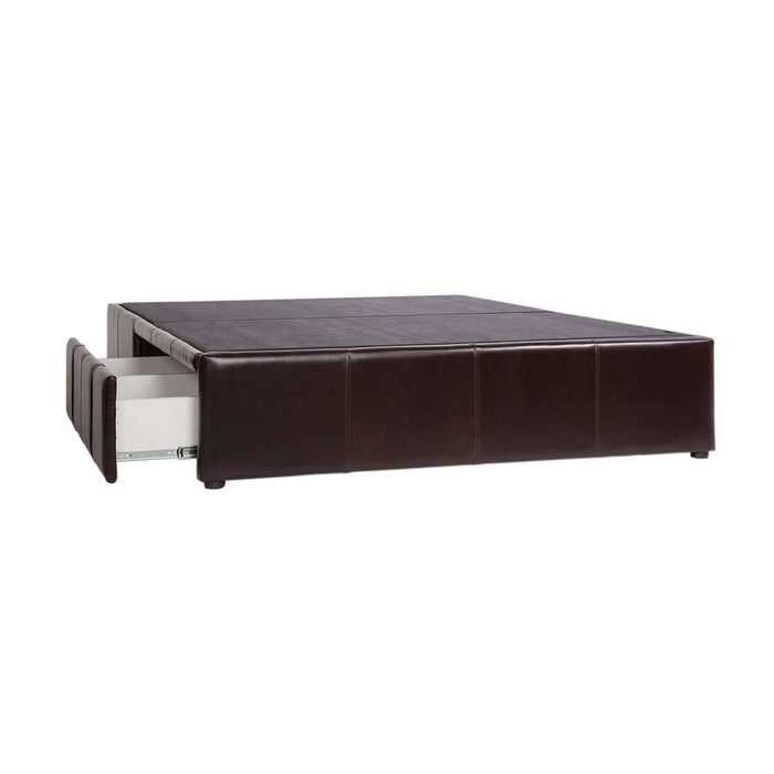 Modern Carmel Leather Bed with Storage