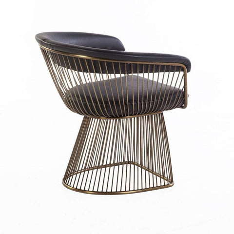 Platner Arm Chair - Black Leather and Gold