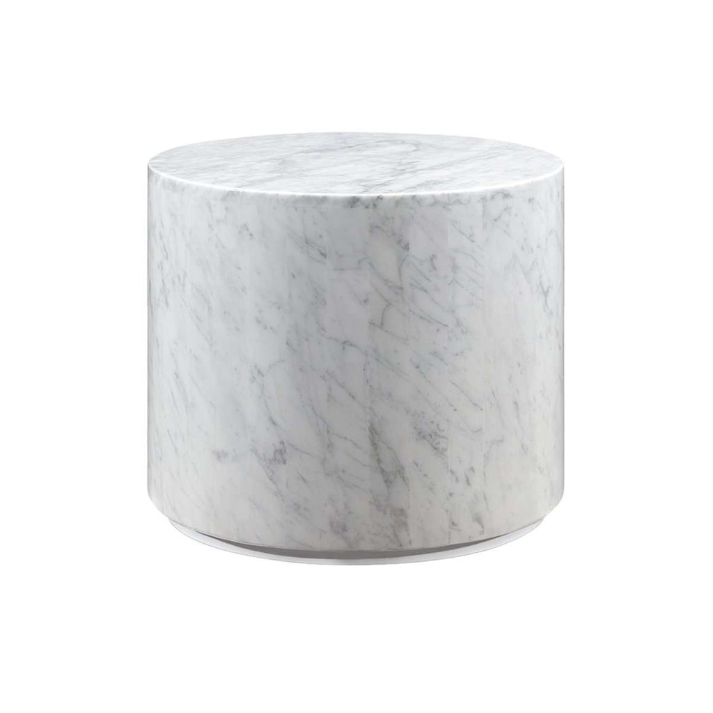 Carrara Marble Drum Side Table   White [New Product]
