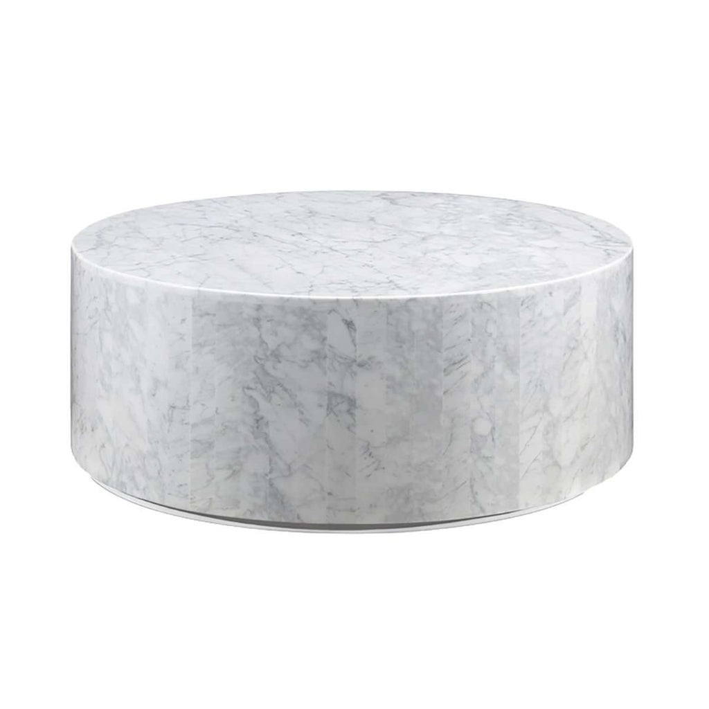 Carrara Marble Drum Coffee Table White New Product France Son - White carrara marble coffee table