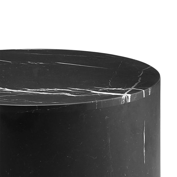 Nero Marquina Black Marble Drum Bunching Table