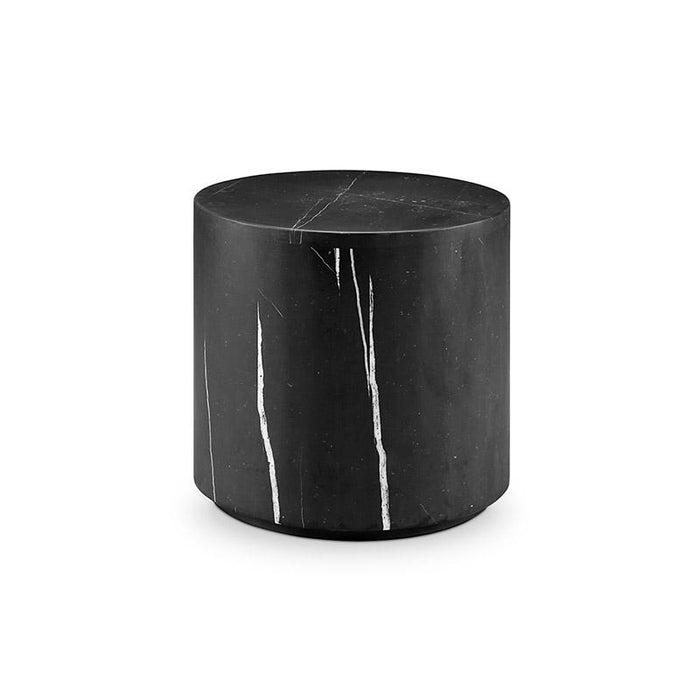 Nero Marquina Black Marble Drum Side Table - Small