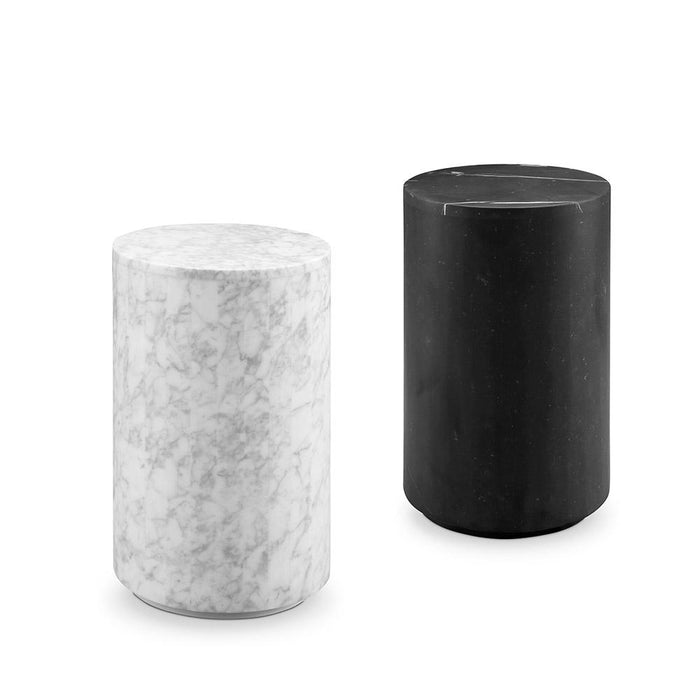 Carrara Marble Drum Pedestal Side Table