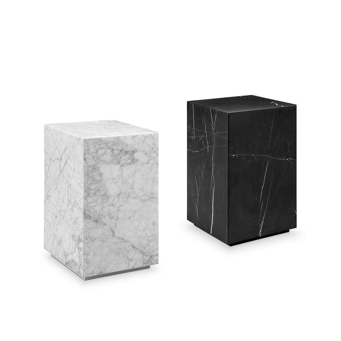 Carrara Marble Pedestal Side Table - Square