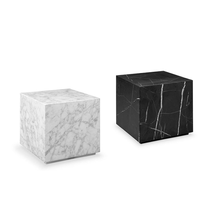 Carrara Marble Drum Side Table - Square