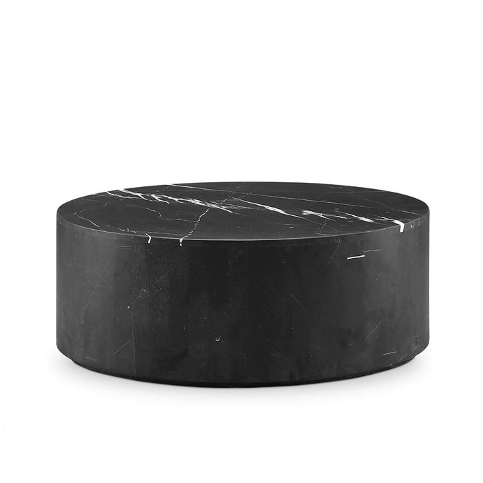 Black Marble Drum Coffee Table - Oval