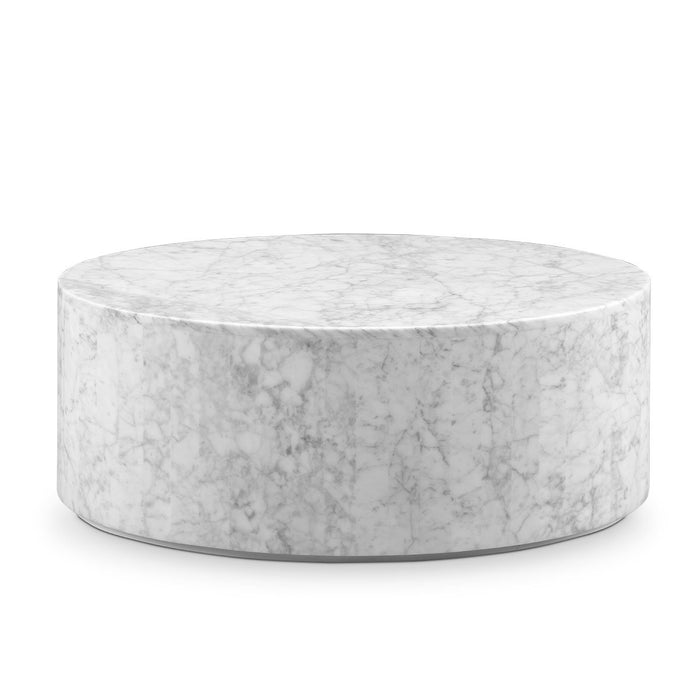 Carrara Marble Drum Coffee Table - Oval