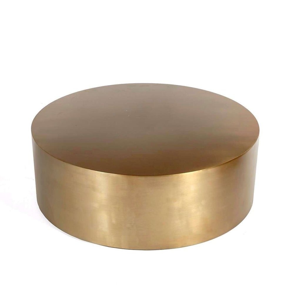 Rein Brass Coffee Table: Modern Reproduction Brass Drum Coffee Table