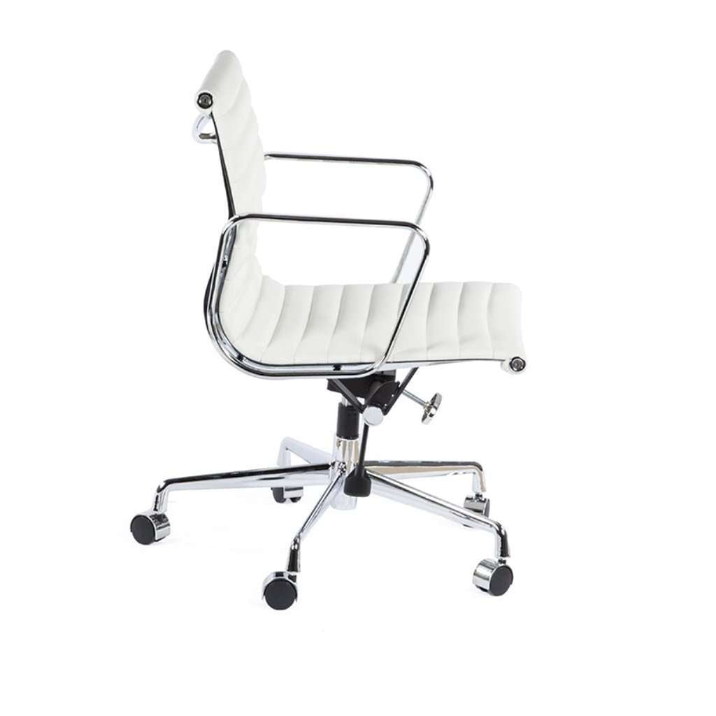Daric Low Back Aluminum Executive Office Chair - White Leather