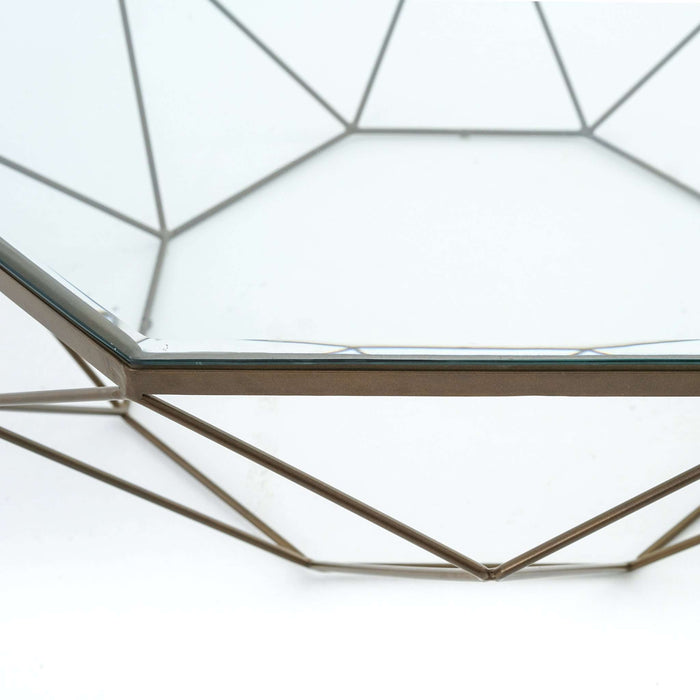 Marlow Geometric Coffee Table - Antique Brass