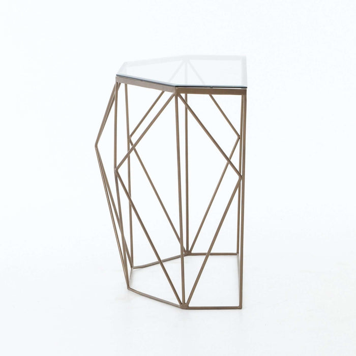 Marlow Geometric Console Table-Antique Brass