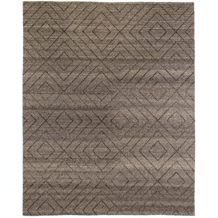Natural Diamond Patterned Wool Rug, 8x10