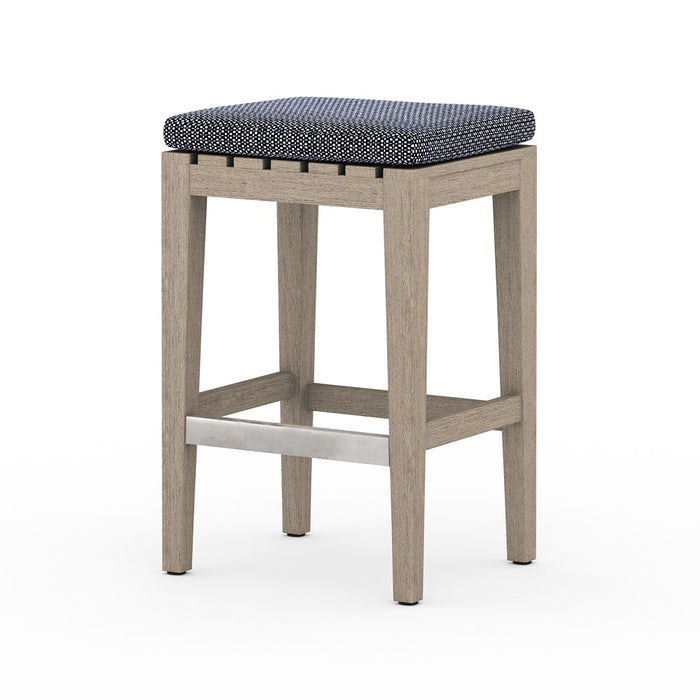 Dale Outdoor Counter Stool-Brown/Navy