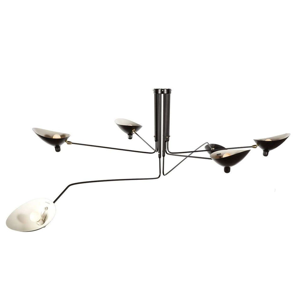 Mid Century MCL-R6 Six Arm Ceiling Lamp - Black