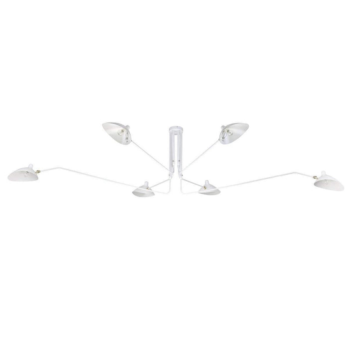Mid Century MCL-R6 Six Arm Ceiling Lamp - White