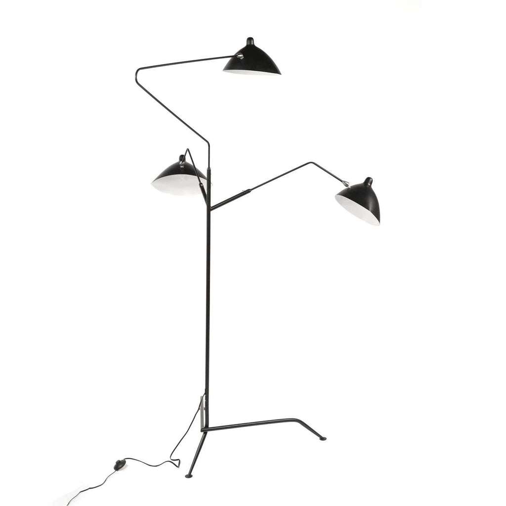 Three-Arm MFL-3 Standing Floor Lamp - Black