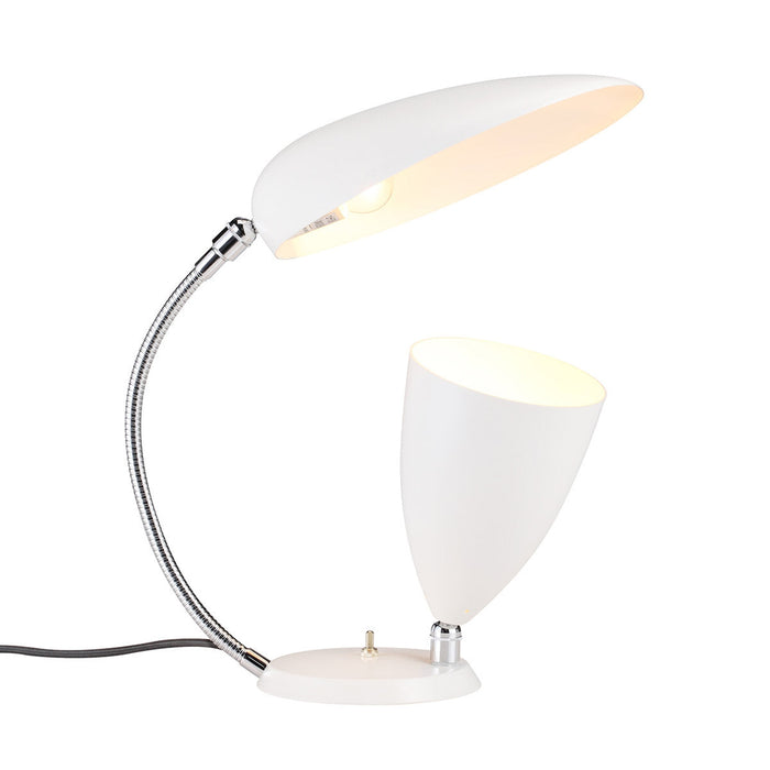 Mid Century Cobra Cone Table Lamp - White