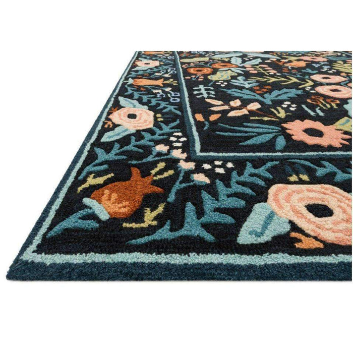 Rifle Paper Co Les Fleurs Black Area Rug