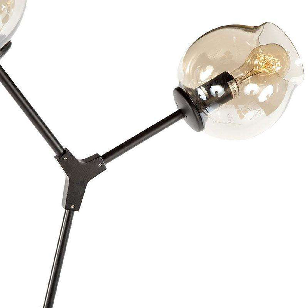 Branching Floor Lamp with Two Globes - Black