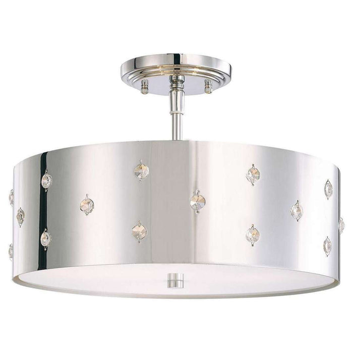 Bling Bling 3 Light Semi Flush Mount Chrome