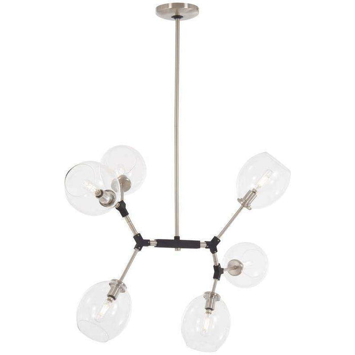 Nexpo 6 Light Pendant Brushed Nickel W/Black Accents