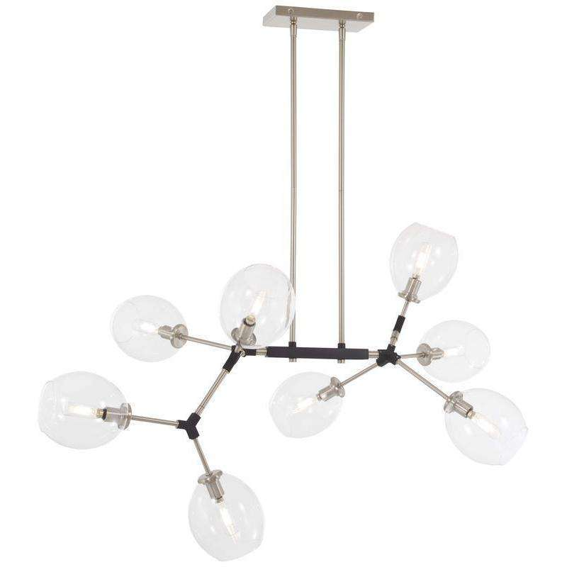 Nexpo 8 Light Chandelier Brushed Nickel W/Black Accents