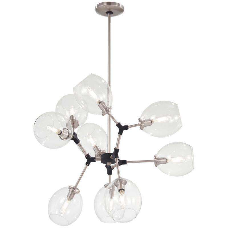 Nexpo 9 Light Chandelier Brushed Nickel W/Black Accents