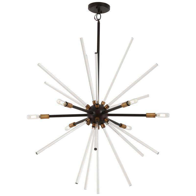 Spiked 6 Light Pendant Painted Bronze W/Natural Brush