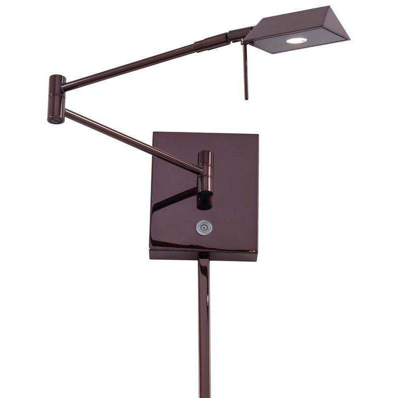 George'S Reading Room 1 Light Led Swing Arm Wall Lamp Chocolate Chrome