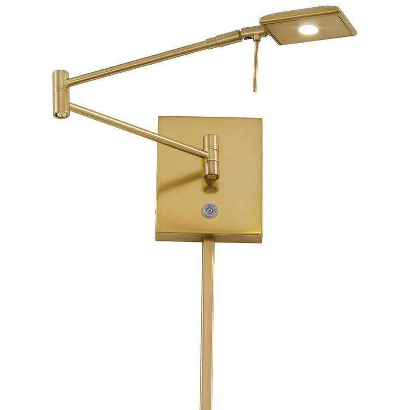 George'S Reading Room 1 Light Led Swing Arm Wall Lamp Honey Gold
