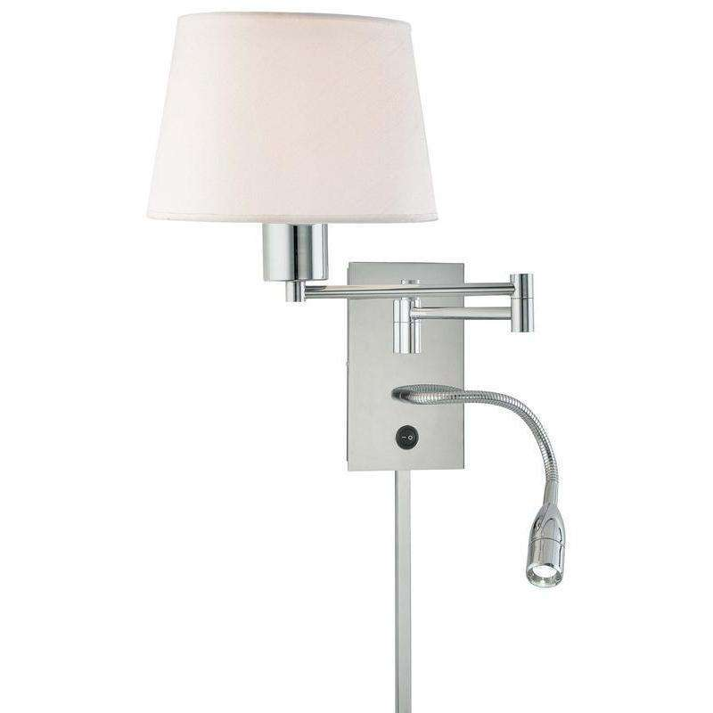 1 Light Swing Arm Wall Lamp W/ Led Reading Lamp Chrome