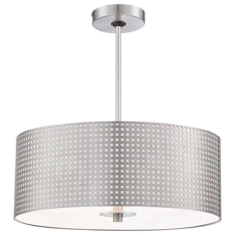 Grid 3 Light Drum Pendant Brushed Nickel